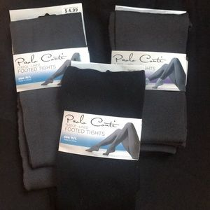 3 Pairs Footless Fleeced Lined Tights NWTs